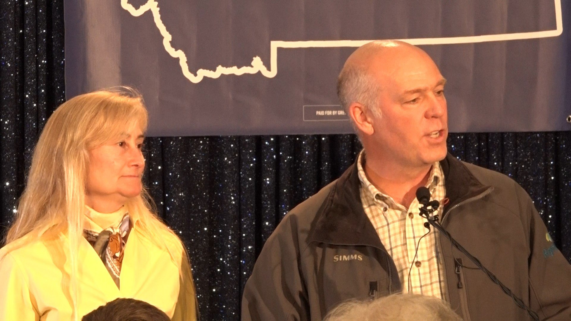 Republican U.S. House candidate Greg Gianforte and his wife, Susan, on election night