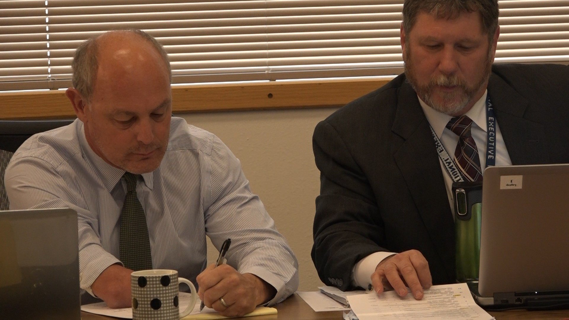 New Parole Board members Mike Batista (left) and Scott Cruse at one of its first meetings this month