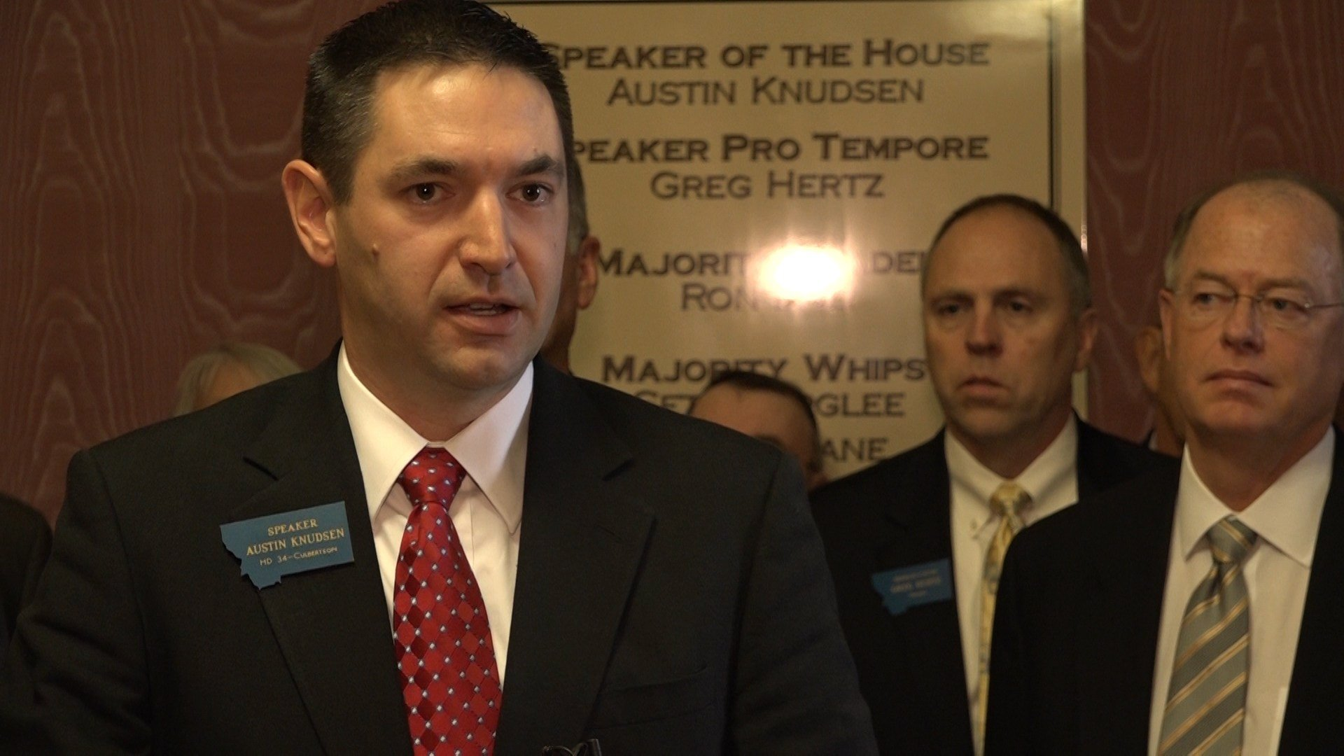 House Speaker Austin Knudsen, R-Culbertson, and GOP leadership Tuesday at the Capitol