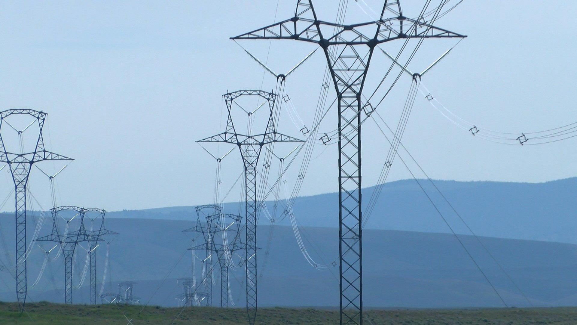 High-voltage transmission lines west of Martinsdale